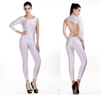 Wholesale Dance Rompers - Sexy pure color one-shouldered cutout back jumpsuits dance solid color siamese trousers dinner party backless rompers