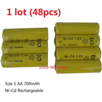 Wholesale Wholesale Rechargeable Volt Batteries - 48pcs 1 lot Rechargeable Ni-Cd Battery Size 5 AA 1.2V 700mAh Ni Cd 1.2 Volt Batteries Free Shipping