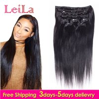 Wholesale Human Hair Extensions Full Set - Malaysian Straight Hair Clip In Hair Extensions Unprocessed Human Hair Weaves 7 Pieces set Full Head 70-120g
