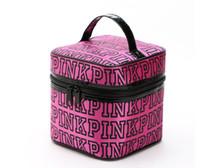 Wholesale Double Makeup Bag - PINK Makeup Bag Victoria Classic Love Pink Secret Cosmetic Bags Double Zipper Handbag Portable Storage Bag 4 Colors 17*17*17cm