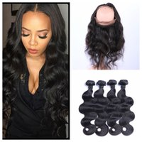 Wholesale Cambodian Baby Hair - Pre Plucked 360 Lace Frontal Closure with Bundles Brazilian Body Wave Virgin Hair Lace Frontals With Baby Hair G-EASY