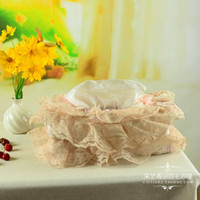 Wholesale Lace Tissue Box Covers - Wholesale- Free shipping Removable lace cloth tissue box tissue cover quality flock printing cloth rose artificial flower Europe paper box