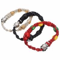 Wholesale Wholesale Rasta Beads - Portable Metal Bead Stash Bracelet Stealth Smoking Pipe Jamaica Rasta wristband Pipe discreet sneak a toke click n vape