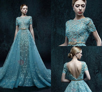 Wholesale Dramatic Short Dress - Dramatic Short Sash Long Zuhair Murad Evening Dress Lace Applique Beads Backless Evening Gown Custom Made Illusion Prom Dresses Quinceanera