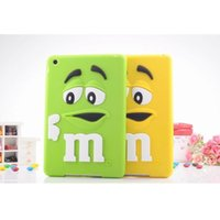 Wholesale Bean Waterproof - Wholesale- Case sfor iPad4 Cover Cute Silicone Rainbow Candy M & M Chocolate Bean Case for coque iPad 2 iPad 3 iPad 4 Tablet Accessories