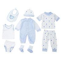 Wholesale Stylish Boys Clothes - 8pcs Spring Summer newborn baby boy clothes set Han Edition Stylish Soft Cotton Stripe Dot Newborn Babies Clothing Sets +NB