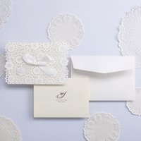 Wholesale Elegant Wedding Invitations Butterfly - Lace Wedding Invitations Elegant Embossed White Ribbon Butterfly Envelope Paper Custom Wedding Invitation Cards Wishmade cw5059