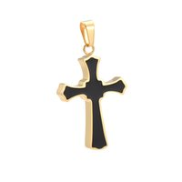 Wholesale Male Stainless Steel Necklace - Black Enameled Cross Pendant Men Wholesale Stainless Steel Necklace Jewelry Male