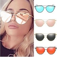 Wholesale Sexy Lens - Hot Brand Designed Summer Style Polarized Sunglasses Sexy Women Metal Oversized Eye Cat Sunglass Uv400 Mirror Lens