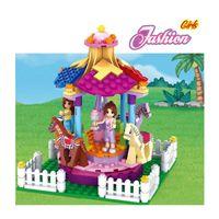 Wholesale Princess Blocks - AUSINI 2017 New Dream princess Girl Building Blocks Carousel park Blocks Kids Educational Bricks Toys DIY for children