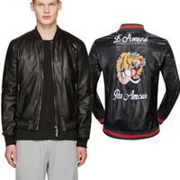 Wholesale Short Leather Jackets Sale - Tiger Leather Jacket 2017 Hot Sale PU Leather Short Coat Embroidery Tiger Letter Skinny Fit Biker Outerwear