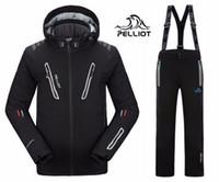 anti kırışıklık pantolonu toptan satış-Pelliot kayak takım elbise ceket + su geçirmez, nefes alabilen sıcak pantolon erkekler süper sıcak ceket, ücretsiz kargo! Aşınmaya dayanıklı kırışıklık önleyici nefes alabilir