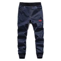 Wholesale Open Leg Pants - Wholesale- European American Street Fashion Men Jeans Dark Blue Color Slim Leg Open Stretch Pants High Quality Jogger Jeans Men Youth Wear
