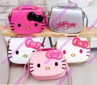 16 colori bella bambina bambini bambini Messenger Bag Big Bow Handbags 2017 New Hello Kitty borsa a tracolla ricamo Satchel Bags