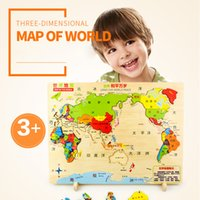 Wholesale Material Maps - High Quality World Map Montessori Wooden Toys Puzzles Lepin Box Educational Toy Puzzle Teaching Aids Set Materials