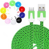 Wholesale 2m Color Usb Noodle - 2017 Hot Sale 1M 3Ft 2M 6Ft Nylon Braided Flat Noodle Type-C Micro USB Data Sync Cables For Cellphone Charging Charger Wires Cords