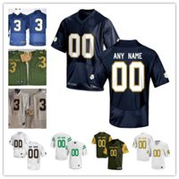 Wholesale Irish Men - Custom Mens Notre Dame Fighting Irish College Football Limited white navy blue green Personalized Stitched Any Name Number 3 7 Jerseys S-3XL