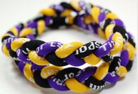 Wholesale Yellow Ge - Promotion - 350PCS Lot Baseball Sports Titanium 3 Rope Braided Purple Yellow Black Sport GE Necklace RT010