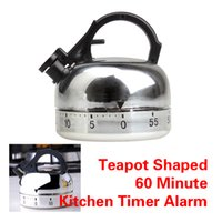Wholesale Teapot Alarm Clock - 60 Minute Kitchen Timer Alarm Mechanical Teapot Shaped Timer Clock Counting For Kictchen Cooking Tools