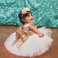 Wholesale Embroidered Sequin Bows - 2017 baby dress girls sequin bowknot baby girls wedding party dress newborn princess 1 year birthday dress tutu baptism dresses