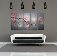 Wholesale 12x18 Wood Picture Frame - 100% Hand Painted Oil Paintings Gift Plum Flowers 5 Panels Wood Inside Framed Hanging Wall Decoration