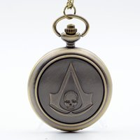 Wholesale Skull Watch Necklace - Luxury Fashion Bronze Assassin's Creed Sci-Fi Movie Skull Quartz Pocket Watch Analog Pendant Necklace Mens Womens Watches Chain Gift