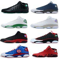 Wholesale Captain Games - New air retro 13 men basketball shoes Captain American All Red Pure Money Chicago black cat DMP Barons Flint He Got Game Sneaker