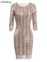 Elegante 3/4 Hülse Bling Sequins Kleid Frauen runde Kragen Damen Kleidung Vintage Styles Bodycon Shining Club Party Kleid nackt SVH033079