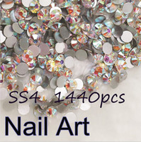 Wholesale Diy Rhinestone For Cell Phones - Wholesale- Promation! Glass Rhinestones 1440pcs SS4 Crystal AB Nail Art Rhinestones For Nails Decoration Cell Phone And DIY Design