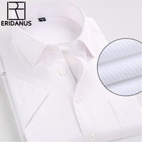 Wholesale Men Dress Shirts New Style - Wholesale- 2016 Man Short Sleeve Dress Shirt Summer Style New Arrival Simple Design Breathable Casual Men Business Non-Iron Shirts 4XL M084