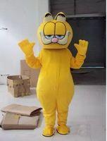 ingrosso personaggi del fumetto gatto giallo-Alta qualità !! Il vestito del costume della mascotte del gatto di Garfield misura adulto i caratteri gialli Il partito del vestito operato dal fumetto parte posteriore con i punti neri Trasporto libero