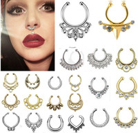 Wholesale Faux Body Jewelry - Hot sale crystal fake septum nose ring piercing clip on body jewelry faux hoop U shape nose rings for women
