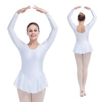Wholesale Silver Girls Dance Skirt - Nylon Lycra Long Sleeve Ballet Dance Leotards with Skirts for Ladies Girls Full Sizes 21 Colors Available