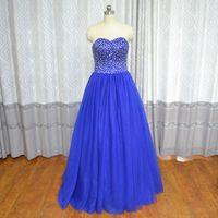 ingrosso vestido regale debutante-Real Photo Vinoprom Vestido De Debuttante Para 15 Anos Ball Gown Sweetheart Royal Blue Beaded Abiti Quinceanera