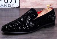 diamante pico sapatos venda por atacado-2018 New Dandelion Spikes Sapatos de Couro Liso Strass Moda Mens Mocassins Sapatos Vestido Deslizamento Em Diamante Casuais Dedo Apontado Sapatos, tamanho38-43