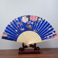 "Wholesale Framed Fabric Print - Women Hand Held Print Silk Folding Fan Bamboo Wood Frame Fabric Cloth Fan for Dancing Home Office Wall DIY Decoration 8.27 ""(21cm) Assorted"