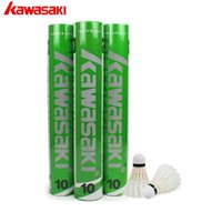 Venta al por mayor 2017 de entrenamiento genuino 10 Kawasaki Durable Bádminton Shuttlecock Duck Feather Ball Cork