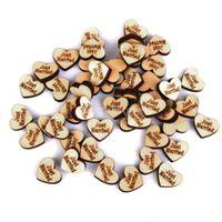 Wholesale Wooden Embellishments - Wholesale- 50pcs JUST MARRIED Naturel Wooden Heart Scrapbooking Embellishments 18x5mm