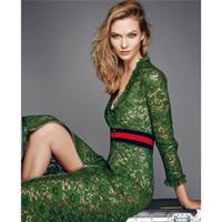 kadınlar için ön fermuar elbiseleri toptan satış-YÜKSEK KALITE Yeni Moda 2016 Pist Elbise kadın Uzun Kollu V Yaka Ön Fermuar Yeşil Dantel Elbise