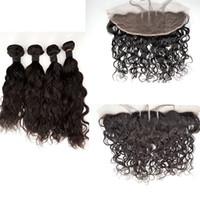 ingrosso capelli riccioli d'acqua-Riccio Beyonce Curl, peli di capelli umani onda d'onda con chiusura frontale in pizzo parte libera capelli vergini peruviani G-EASY