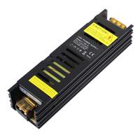 светодиодный блок питания оптовых-SANPU Slim Power Supply 12V 24V 150W AC to DC Lighting Transformer Светодиодный драйвер Черный алюминий для светодиодов Strips Lights