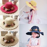 Wholesale Korean Straw Hats - 2017 New Korean Hats Spring summer Handmade flowers Hat Children straw hat baby girls Beach Hats Caps foldable kids Holiday sun hat A6606