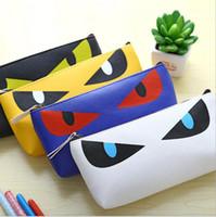 Wholesale Korea Cat Cartoon - Wholesale-Hot selling Korea cute cartoon Cat Eye stationery bags PU chain pencil case school stationery 0126