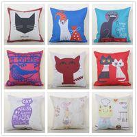Wholesale Cartoon Color Frogs - Cotton Pillowcase Car Cushion Animal Cartoon Customizable Pillow Slip Cats Birds Frog Cushions Cover Multi Color Option New Arrival 13rr A R