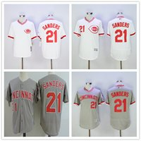 Wholesale Cheap Jerseys Store - Mens #21 Deion Sanders Cincinnati Reds Baseball Jerseys White Gray Pull Down Cheap Free Shipping Outlets Store