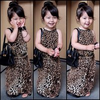 Wholesale Little Girls Fashion Belts - Girls leopard print braces dress 2pc set maxi slip dress+belt infants babies little lady fashion long dress 10sizes for 2-8T