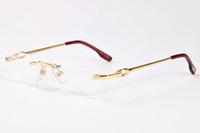 lentes de lentes transparentes al por mayor-2017 Rimless clear lens glasses hombres búfalo cuerno gafas de sol mujeres marcos oro aleación de plata marco de metal gafas gafas 52-18-140mm