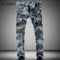 Wholesale Urban Motorcycles - Wholesale-New Arrival Hot Men's Motorcycle Biker Runway Stretchy Jeans Washed Snow Grey Denim Fashion Slim New Hip Hop Urban Zipper Jeans