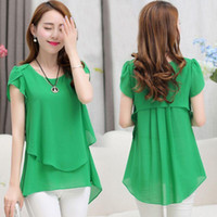 Wholesale Funds Easy - Summer Fashion Wear New Will Code Suit-dress Fat Easy Thin Long Fund Short Sleeve Chiffon Shirt Woman Rabbit Womens