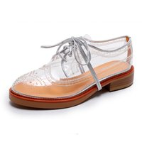 British Retro Stylish PVC transparente casual sapatos lisos atam até oco esculpido flor estilo formal estilo brogue sapatos femininos